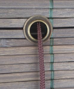 Bamboe vouwgordijn donkerbruin detail touw